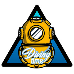 Color vintage diving emblem