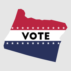 Vote Oregon state map outline. Patriotic design element to encourage voting in presidential election 2016. vote Oregon vector illustration.