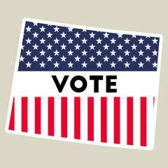 USA presidential election 2016 vote sticker. Wyoming state map outline with US flag. Vote sticker vector illustration.