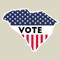 USA presidential election 2016 vote sticker. South Carolina state map outline with US flag. Vote sticker vector illustration.