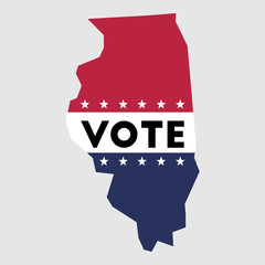 Vote Illinois state map outline. Patriotic design element to encourage voting in presidential election 2016. vote Illinois vector illustration.
