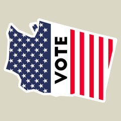 USA presidential election 2016 vote sticker. Washington state map outline with US flag. Vote sticker vector illustration.