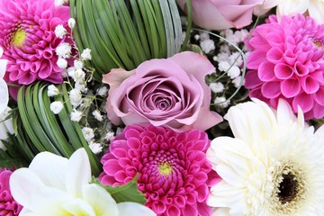 Bunch of fresh flowers, roses. Beautiful romantic bouquet for birthday, wedding. Holidays and celebrations