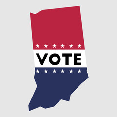 Vote Indiana state map outline. Patriotic design element to encourage voting in presidential election 2016. vote Indiana vector illustration.