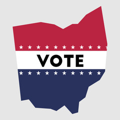 Vote Ohio state map outline. Patriotic design element to encourage voting in presidential election 2016. vote Ohio vector illustration.