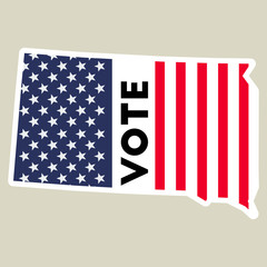 USA presidential election 2016 vote sticker. South Dakota state map outline with US flag. Vote sticker vector illustration.