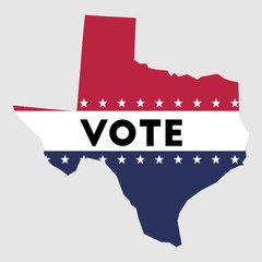 Vote Texas state map outline. Patriotic design element to encourage voting in presidential election 2016. vote Texas vector illustration.
