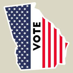 USA presidential election 2016 vote sticker. Georgia state map outline with US flag. Vote sticker vector illustration.