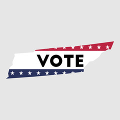 Vote Tennessee state map outline. Patriotic design element to encourage voting in presidential election 2016. vote Tennessee vector illustration.