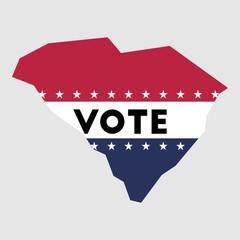 Vote South Carolina state map outline. Patriotic design element to encourage voting in presidential election 2016. vote South Carolina vector illustration.