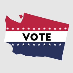 Vote Washington state map outline. Patriotic design element to encourage voting in presidential election 2016. vote Washington vector illustration.