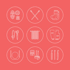 Knitting. Modern vector line icons set of knitting and crochet. Knitting elements: yarn, knitting needle, knitting hook, pin and others. Outline knitting symbol collection invitations, notes, stores