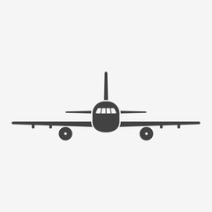 Airplane monochrome icon. Aircraft silhouette on white background. Vector illustration.