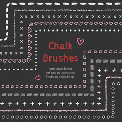 Hand drawn chalk vector brushes with inner and outer corner. Chalk brush, divider, border. Isolated decorative chalk frame. Vector chalk design element. Isolated scribble line frame. Chalk background