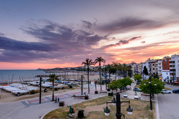 Sitges, Spain - June 10: View with Spain beach and promenade are