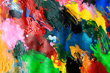 Oil paints multicolored closeup abstract background from above