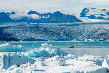 Vatnajokull glacier at Jokulsarlon. Vatnajokull is one of the largest glaciers in Europe.