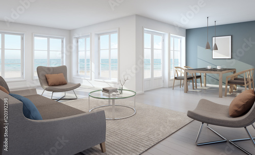 Sea view living and dining room in modern beach house for Dining room 3d view