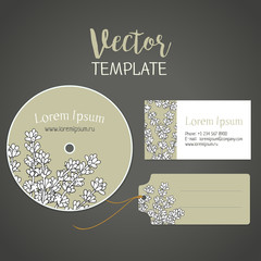Lavender. A vector flower template for  card,  disk and  label. Corporate style