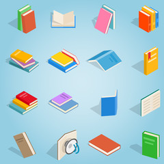 Isometric book set icons. Universal book icons to use for web and mobile UI, set of basic book elements vector illustration