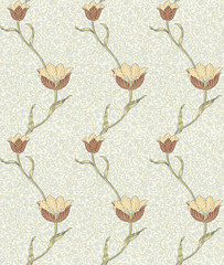 Modern floral seamless pattern for your design. Print on paper or textile. Desktop wallpaper. Vector illustration. Background.