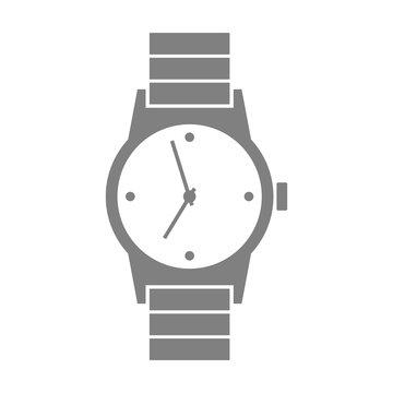 Grey wristwatch icon on white background