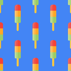 Seamless pattern with ice lolly. Vector texture.