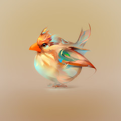 illustration of stylized bird cardinal
