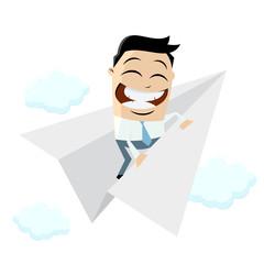 funny businessman on paper plane