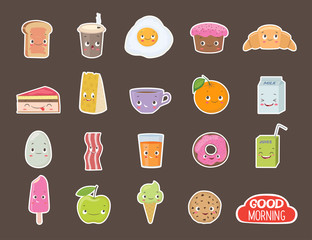 Breakfast. Different emotions stickers collection