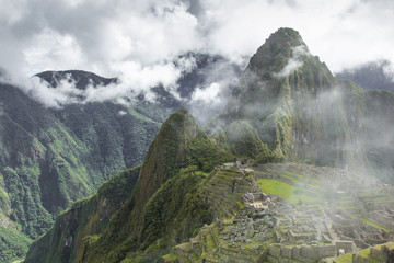 View of the ancient Inca City of Machu Picchu. The 15-th century