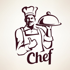 chef stylized vector portrait, culinary and restaurant retro emb
