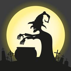 Witch brews a potion.