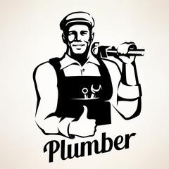 plumber service portrait retro emblem, stylized vector symbol
