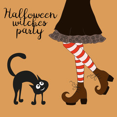 Halloween cartoon witch legs.