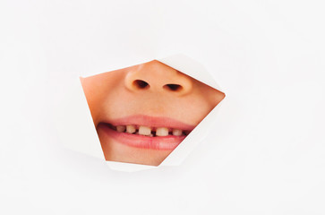 Child mouth and nose