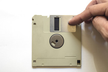 Floppy disc on a white isolated background