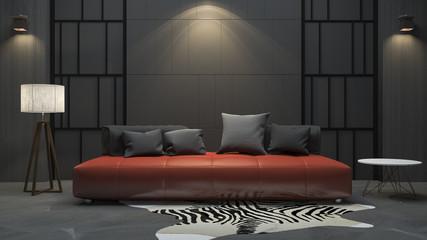 3d rendering red sofa in dark room