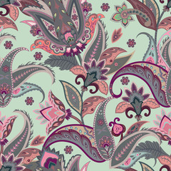 Native flowers seamless paisley pattern. Wrapping print. Stylized floral motif