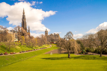 Edinburgh, Scotland. Princess Street Gardens with Scott Monument