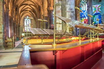 The interior of St Giles Cathedral or the High Kirk, main church of the Church of Scotland. The choir place.
