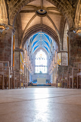The interior with the altar of St Giles Cathedral or the High Kirk, main church of the Church of Scotland