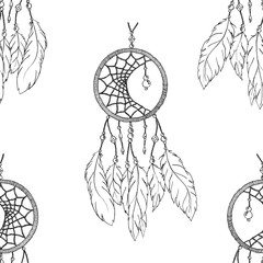 Monochrome ethnic hand made feather dream catcher seamless pattern vector