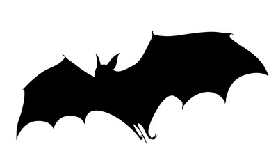 Silhouette lying bat vector illustration isolated on white background