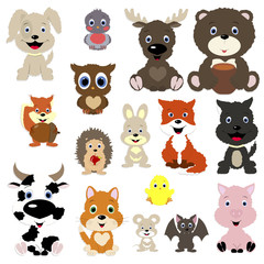 collection of cute animals in cartoon style. Set isolated objects on white background. Templates for decoration and design of the album and scrapbook. Vector illustration