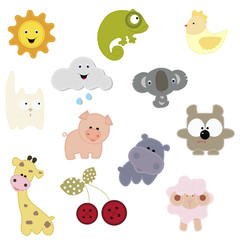 set of patches with the animals and others. baby collection patches for design and decoration clothing shirts. Vector illustration