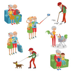 Vector set of characters in a flat style. Cartoon  elderly. Grandmother grandfather in different actions.