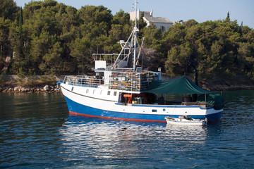 Fishing boat in marine on sea water