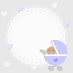 poster for greetings or invitations. Template for decoration and design. Decorative frame baby boy in the pram. vector illustration