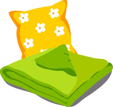 Color bed linen. Pillows, sheets, blankets. Vector Illustration of a cartoon isolated on white background